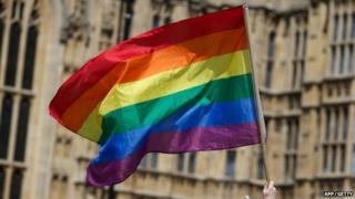 A rainbow flag being waved outside the Houses of Parliament