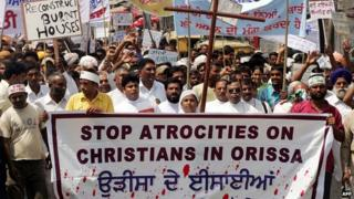 Protests by Christians against riots in Orissa, 2008