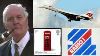 Pictures of Tony Benn; Concorde; Radio 1 logo; postage stamp