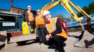 Mark Sturgess of Network Rail, left, Cllr Roger Horton and Terry Oliver of London Midland.