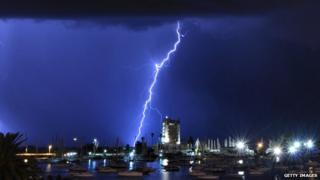 A lightning storm in Uruguay