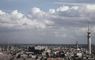 Clouds over the Douma district of Damascus (10 March 2014)