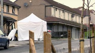 A police tent at Conisborough Road in Easterhouse