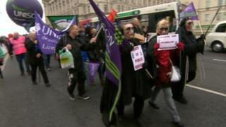 Protest march in Liverpool city centre