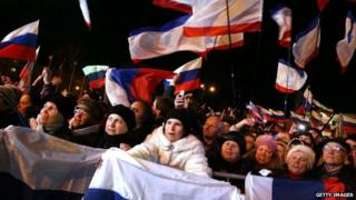People in Lenin Square attend a pro-Russian rally in Simferopol, Ukraine, after the referendum