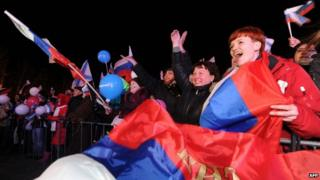 Pro-Russian Crimeans celebrate in Sevastopol after the referendum. Photo: 16 March 2014