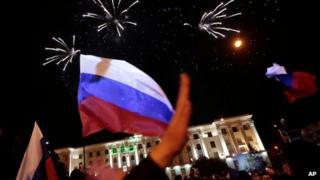 Pro-Russian celebration in Lenin Square, in Simferopol, Ukraine, on 16 March 2014 after the referendum vote was announced