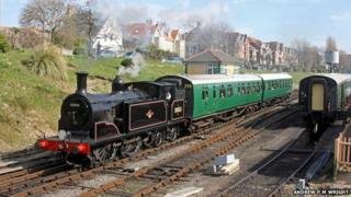 The two rare 1940s Bulleid passenger carriages at Swanage Railway