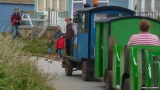 Land train at Hengistbury Head