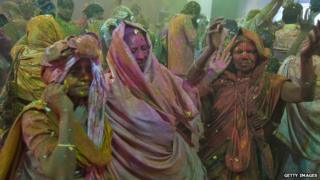 Widows celebrate Holi in Vrindavan, India