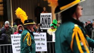 Gay rights supporters protest against the exclusion of the gay community from the St. Patrick's Day parade during the annual event in New York 17 March 2014