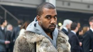 Kanye West seen in Paris, France, on 17 January 2014