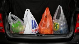 Supermarket bags in a car boot