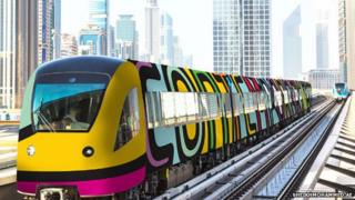 Artist's impression of a redecorated Dubai Metro train