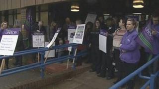 Staff protest