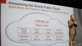 Oracle CEO Larry Ellison introduces Oracle's cloud computing during the Oracle OpenWorld