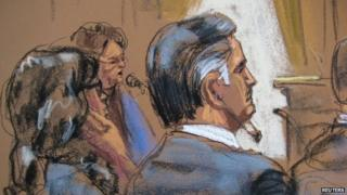 Former Guatemalan President Alfonso Portillo appears in court in New York in this 18 March, 2014 court sketch