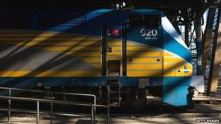 A VIA Rail train engine sits idle at Union Station in Toronto, Ontario, 22 April 2013