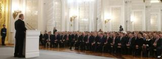 Russian President Vladimir Putin delivers his speech at the Kremlin, Moscow (18 March 2014)