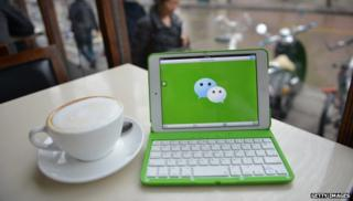 Computer with Wechat logo