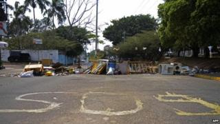 General view of a barricade set up by anti-government activists in San Cristobal on 6 March, 2014
