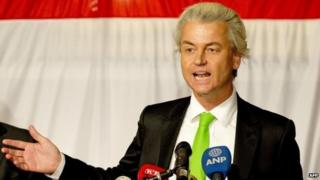 Geert Wilders of the Freedom Party (PVV) at a rally in The Hague (19 March 2014)