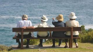 Retired people on a bench