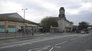 The area near Aberystwyth railway station
