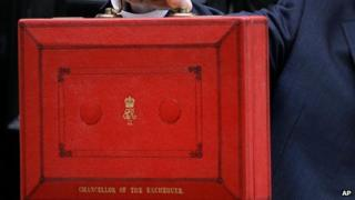 Chancellor George Osborne poses for the media with the traditional red dispatch box before the Budget on 19 March 2014