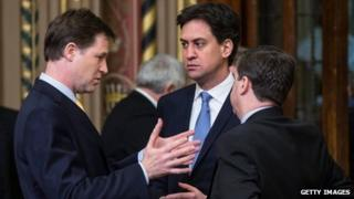 Nick Clegg, Ed Miliband and Douglas Alexander