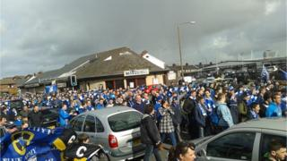 Cardiff City fans on protest march