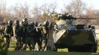 Armed men, thought to be Russian servicemen, in Belbek, Crimea