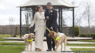 Claire Johnson and Mark Gaffey marry accompanied by guide dogs Venice and Rodd