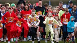 David and Samantha Cameron in charity run