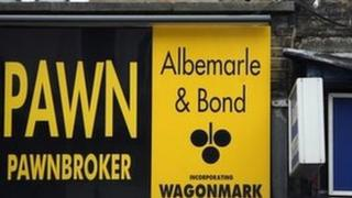 Pawnbroker shop sign