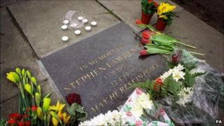 The memorial plaque for Stephen Lawrence in Eltham
