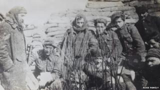 Sergeant Major William Ross with soldiers in a trench