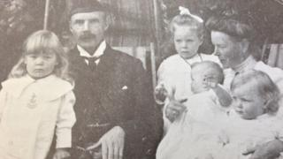 Captain Ronald McDonald and family. He was a Portree lawyer who was injured at the Battle of Festubert and died a year later.
