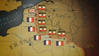 By the end of 1914, German and Allied forces were dug in along a line through France