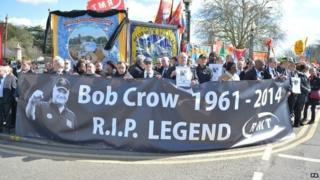 Trade union members outside the City of London Cemetery and Crematorium