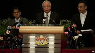 Malaysian prime minister makes announcement 24/03/2014
