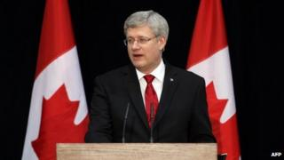 Canadian Prime Minister Stephen Harper appeared in Ottawa, Ontario, on 18 March 2014