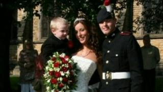 Fusilier James Wilkinson with his wife Sarah at their wedding