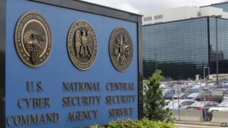 Photo taken 6 June 2013 showing a sign outside the National Security Administration (NSA) campus in Fort Meade, Md.