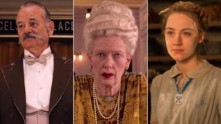 Bill Murray, Tilda Swinton and Saoirse Ronan as they appear in The Grand Budapest Hotel