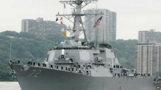 File photo of the USS Mahan on the Hudson river in New York