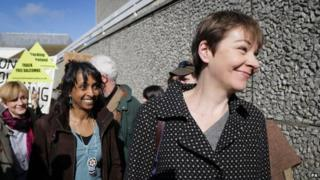 Caroline Lucas with supporters