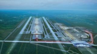 Aerial image of two-runway Gatwick Airport