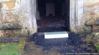 The church's destroyed door