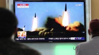 TV images of North Korean short-range rocket launches. 23 March 2014